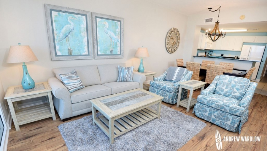 Photo of a living room in a condo by Panama City Beach real estate photographer Andrew Wardlow.