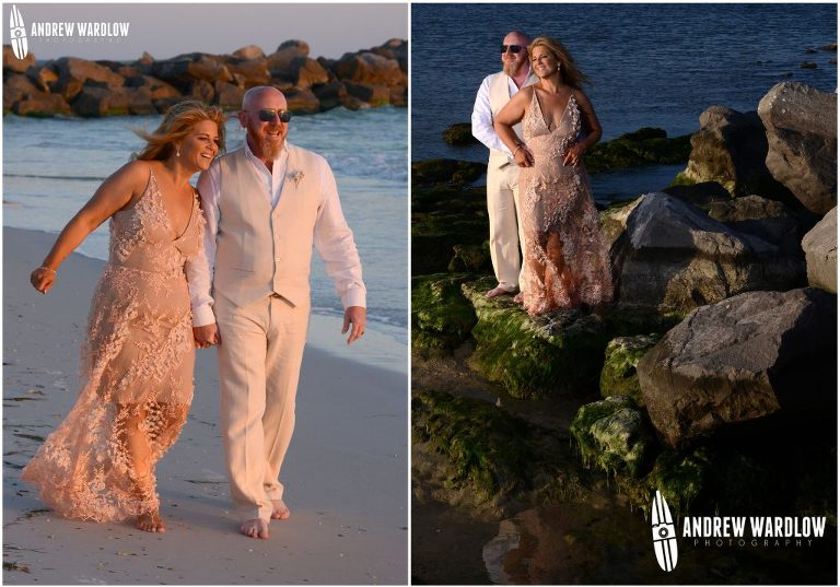 Couple walks along the beach while holding hands. At right, couple embraces on a rock formation.